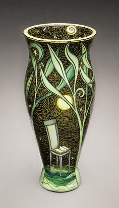 Terri Kern, #inspiration. underglazes or sgraffito with tranparent glazes painted in or some other technique. Love it
