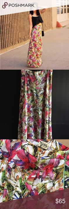 """Show Me Your Mumu """"Princess Di"""" ballgown maxiskirt A special maxi skirt in a flattering & fancy shape, zips up high-waisted to make you look teeny-tiny then sweeps out long & full like a princess in a ballgown. Tuck a shirt inside or pair with boho crop tops. Weddings, dances, balls, proms, birthdays, brunches.. be a tropical Princess in floral print with ornamental fuchsias & exotic orchids! 15"""" highrise waist, 26"""" hips, 49"""" long, partially lined. Excellent condition, no flaws. Polyester…"""