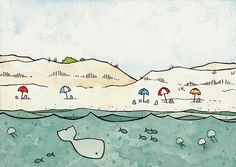 Beach Umbrellas and Whale Print 8x10 by studiotuesday on Etsy. ORDERED!