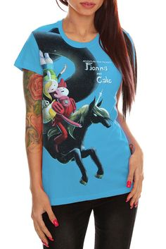 """Adventure Time Fionna And Cake Girls T-Shirt  $22.50  This fitted turquoise tee features an over-sized front screen design inspired by the Adventure Time episode """"Fionna and Cake."""""""