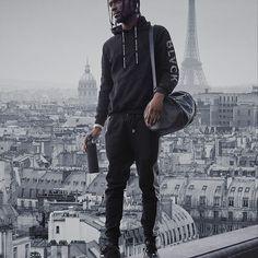 men's sweatsuit, overlooking paris #codeblack #blackaesthetic #allblackeverything #black #blvck #sweatsuit #view #paris #parisfrance #france #views