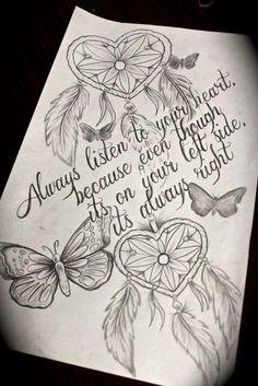 tattoo,heart,dreamcatcher,love,followyourheart,quote