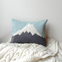 the Mountain // linen  wool mountain cushion by ThreeBadSeeds