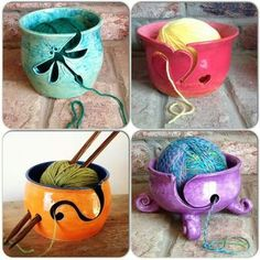 A variety of yarn bowls. Ceramics Projects, Clay Projects, Clay Crafts, Diy Clay, Ceramic Clay, Ceramic Bowls, Cerámica Ideas, Keramik Design, Crochet Gratis