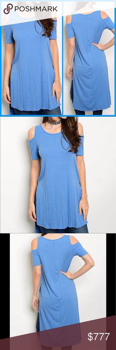 COMING SOON Indigo Top Short sleeve cold shoulder side slit ribbed tunic top. 70% rayon 26% polyester 4% spandex. Made in the USA. NWOT from wholesaler. Check out my other items for a bundle discount. PRICE FIRM UNLESS BUNDLED!!! Tops Tunics