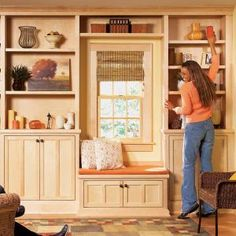 Built-in bookshelves & window seat