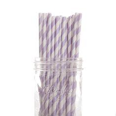Paper Straw Striped Lavender DMC7741 100pcs
