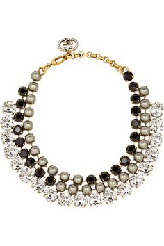 Gucci                               Gold-tone, crystal and glass pearl necklace