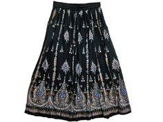 Bohemian Gypsy Bellydance Black Floral Print Sequin Skirt Womens Long Skirts