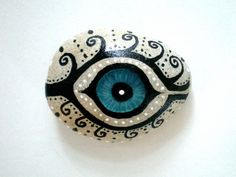 Mystic Evil Eye  Painted Stone handpainted healing by ShebboDesign #Stone Art #Art