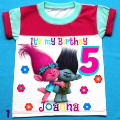 Trolls Birthday Girl Shirt, Personalized with child name and age.