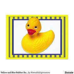 Yellow and Blue Rubber Duck Baby Announcement Zazzle Invitations, Baby Shower Invitations, Baby Girl Birth Announcement, Create Your Own Invitations, Rubber Duck, Yellow, Blue, Backdrops, Towel