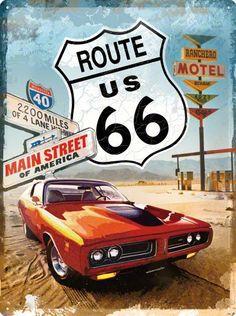 Auto Merken : Route 66 2200 Miles XL gebold 3D metalen wandplaat