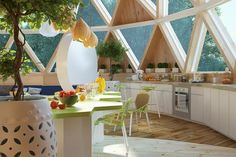 Geodesic house on Behance Circular Buildings, Yurt Living, Geodesic Dome Homes, Dome House, Sustainable Architecture, Back To Nature, Building Design, Home Interior Design, House Plans