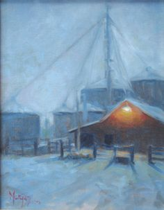 """Silent Night, 14""""x 11"""" oil by Cecile W. Morgan. A quiet barn surrounded by progress in Kentucky"""