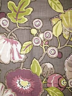 """$29 / yd Hip Berry 100% cotton washed heavy slubby basket floral print. P. Kaufmann Fabric. 27"""" repeat. 54"""" wide"""