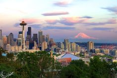 Seattle by Robert Bugary, via 500px - A rare day in Seattle. Mt. Rainier was visible from Kerry Park and the sun cooperated.