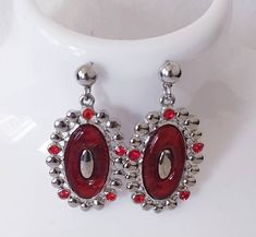 Excited to share this item from my #etsy shop: Vintage Red Pear Drop Earrings, vintage costume jewellery, Lucite Drop Earrings,Glass gem earrings, Valentine's gift.
