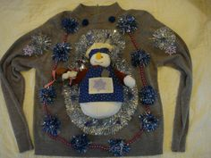 Woman's ugly christmas sweater baker snowman woman's large tacky silver decoration by keriblue4 on Etsy