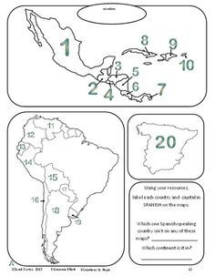 Identify countries and capitals #spanishworksheet #