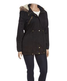 Look at this #zulilyfind! Black Sherpa-Hooded Jacket - Plus #zulilyfinds