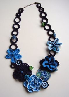 Hey, I found this really awesome Etsy listing at https://www.etsy.com/listing/233482151/blue-crochet-necklace-flowers-necklace