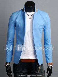 Men's Fashion Solid Casual Blazer,Linen Long Sleeve Black / Blue / Green / Orange / White All Seasons Men's Fashion Outerwear 2017 - Rs1405