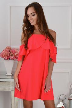 Sukienka Nikola z falbaną neon koral