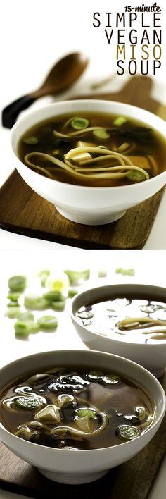 15 Minute Simple Vegan Miso Soup #vegan #recipe
