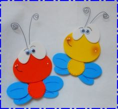 BORBOLETA DE E.V.A. COM ANTENA DE ARAME ARTESANAL Kids Crafts, Foam Crafts, Cute Crafts, Diy And Crafts, Arts And Crafts, Paper Crafts, Letter E Craft, Pencil Topper Crafts, Rakhi Design