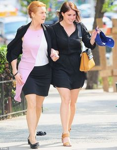 Sarah Ferguson visits her youngest daughter Princess Eugenie, pictured yesterday…