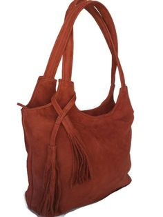 Rose madder tote soft leather purse red fringe shoulder by Fgalaze, $109.99