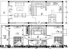 Mặt bằng tầng 1 và tầng 2 nhà phố 5x12m