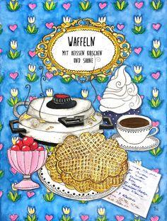 stefanie stark: Fresh waffles - painted recipe, firsche Waffeln, gemaltes Rezept