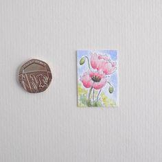 Miniature Watercolour Painting 'Poppy'  (2.5cm x 3.5 cm)