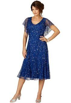 Plus Size Flutter Sleeve Sequin Dress