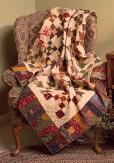 Love the autumn-hued Goose Tracks blocks in this beautiful quilt by Kim Diehl.