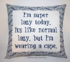 Funny Cross Stitch Pillow, Blue Pillow, Lazy Quote. $25.00, via Etsy.