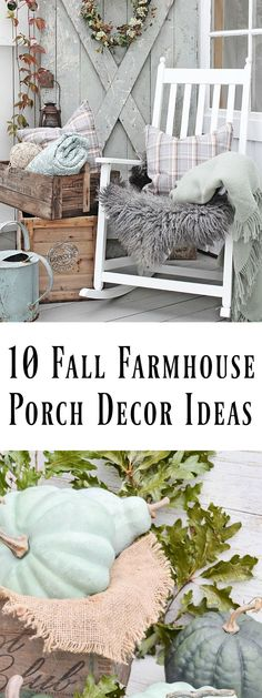 Love farmhouse style? Come sit for a spell and be inspired by these 10 fall farmhouse porch decor ideas. via /dandelionpatina/