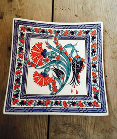 Hand Made Turkish Ceramic Plate / Wall Decor / iznik Ceramic square plate