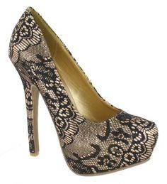 Anne Michelle Ladies gold black pattern high heel platform court shoe