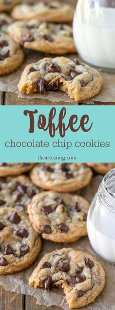 Chewy toffee chocolate chip cookies are packed with toffee pieces and chocolate biscuits. Chewy toffee chocolate chip cookies are packed with toffee pieces and chocolate biscuits. Toffee Cookies, Soft Chocolate Chip Cookies, Chocolate Toffee, Homemade Chocolate, Cookies Soft, Chocolate Chips, Chocolate Desserts, Cake Cookies, Tasty Cookies