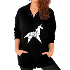Origami Unicorn Zip Hoodie (on woman) Shirt