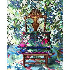 """Today, a total look """"Canopy"""" with Christian Lacroix Maison new cushions collection. """"Canopy"""" cushion is available in two colors, in """"Grenade"""" as as illustrated on the picture, and in """"Mediterranee"""". A very tropical travel without leaving your living room ! Available in our Paris flagship."""