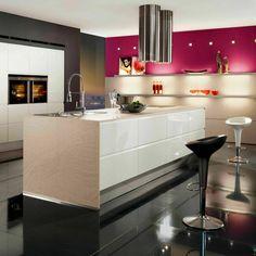 cuisine blanche et noire meuble rose