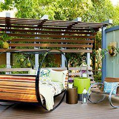 Napping nook - The Ultimate Outdoor Living Area - Sunset Outside Living, Outdoor Living Areas, Outdoor Rooms, Outdoor Decor, Outdoor Furniture, Backyard Picnic, Backyard Retreat, Backyard Ideas, Porch Swing