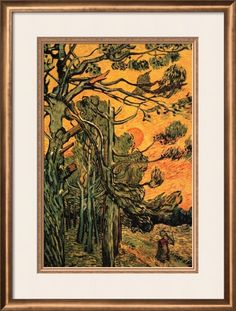 Pine Trees Against a Red Sky with Setting Sun by Vincent van Gogh Framed Art Print