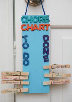 DIY Clothespin Chore Chart by EclecticRecipes.com #recipe