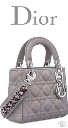 cf3d802936be Brilliant Luxury   Dior Autumn 2016 ~ Mini Lady Dior bag with cannage  topstitching in Montaigne Grey lambskin - large purse wallet