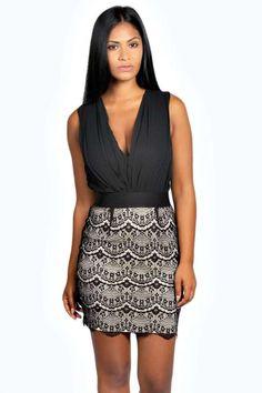Delia 2 in 1 Chiffon Top Sequin Skirt Bodycon Dress at boohoo.com